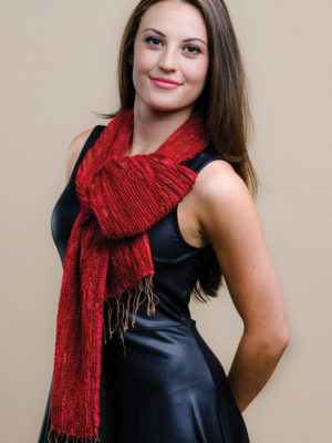 Red Handwoven Scarf in Silk and Wool from India