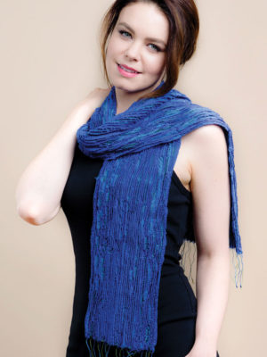 Fair Trade Periwinkle Blue Scarf in Silk and Wool