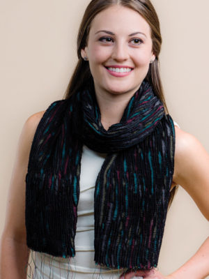 Fair Trade Pure Silk Wool Scarf in Black