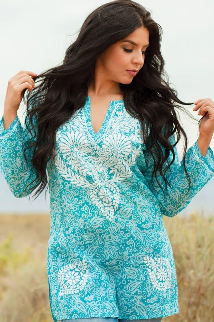 Handmade Turquoise Printed Tunic