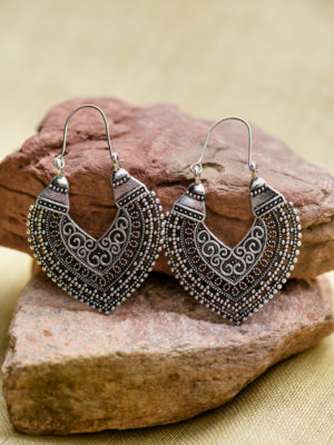 Handmade Silver Earrings with Filigree Design from India