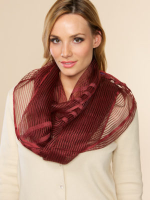 Sheer Burgundy Infinity Scarf from India