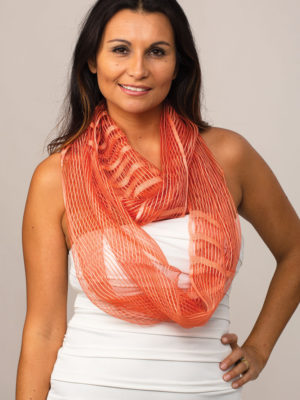 Sheer Orange Infinity Scarf from India