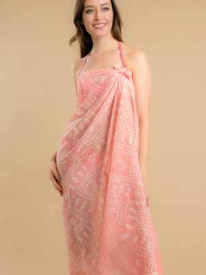 Hand Tie Dye Peach Sarong from India