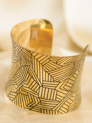 Indian Etched Brass Cuff with Patchwork Design