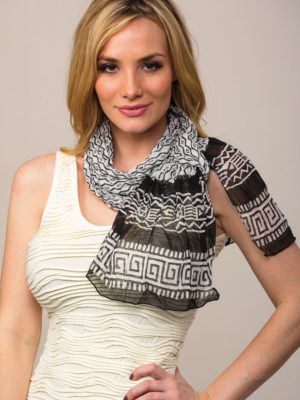 Printed Black and White Chiffon Scarf from India