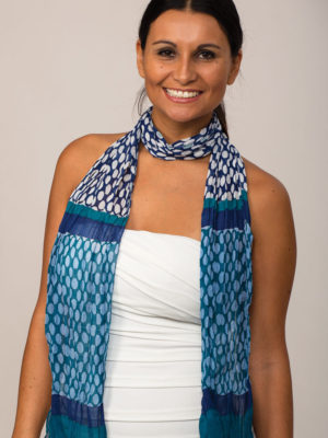 Printed Navy Chiffon Scarf from India