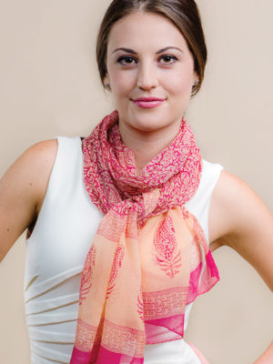 Fair Trade Peach Chiffon Scarf from India