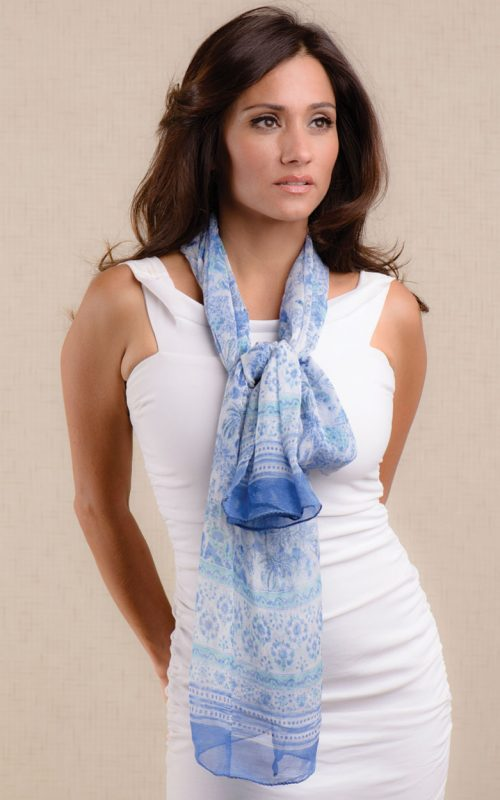 Blue Chiffon Scarf from India with Block Print Design