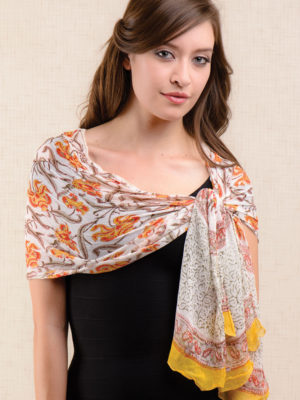 Printed Orange Chiffon Scarf from India
