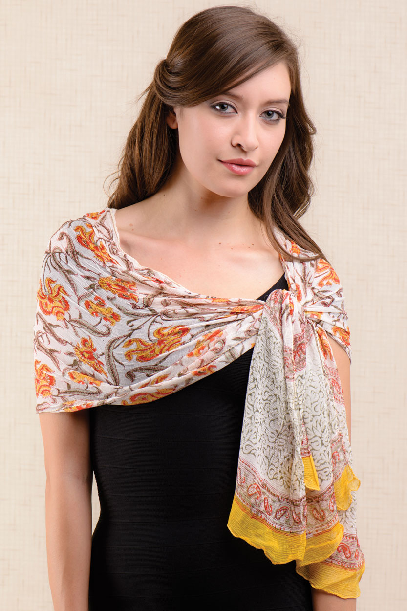 orange chiffon scarf sevya fair trade wholesale