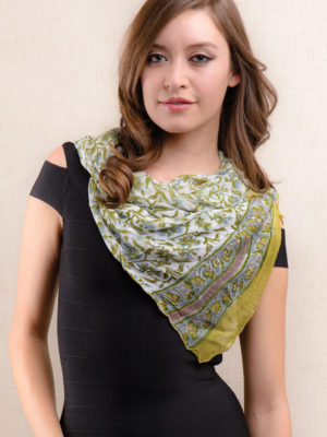 Fair Trade Olive Green Chiffon Scarf from India
