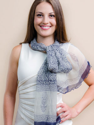 Fair Trade Silver Chiffon Scarf from India