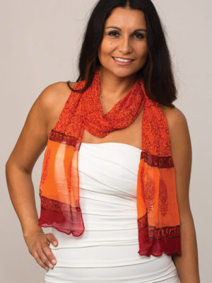 Printed Coral Chiffon Scarf from India