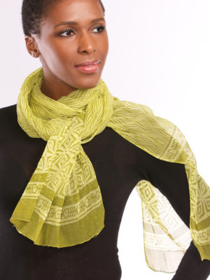 Printed Lime Green Chiffon Scarf from India