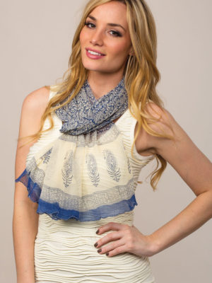 Block Printed Chiffon Scarf from India