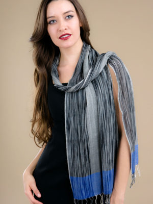 Fair Trade Blue Wool Scarf with Ikat Design from India