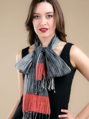 Fair Trade Red Ikat Scarf in Wool
