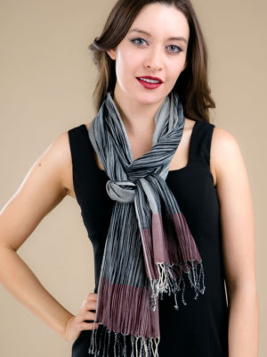 Fair Trade Ikat Scarf in Purple and Black