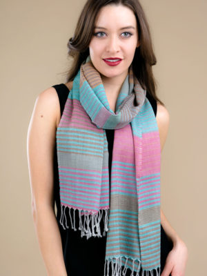 Fair Trade Turquoise Wool Scarf with Stripes