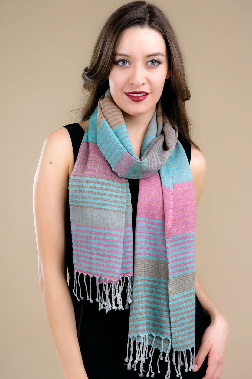 saheli turquoise scarf sc 222 1 wholesale fair trade