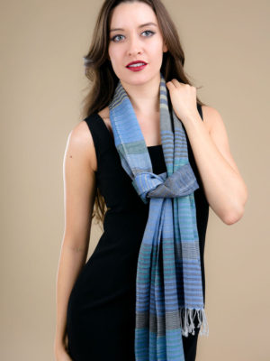 Handmade Wool Scarf with Indigo and Silver Stripes