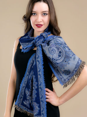 Fair Trade Soft Wool Scarf in Indigo