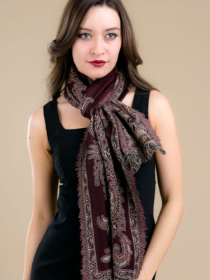 Fair Trade Plum Wool Scarf from India