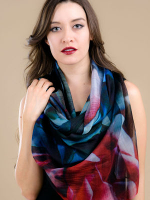 Printed Rose Silk Scarf from India