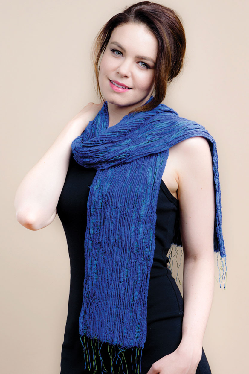 periwinkle blue scarf handmade in india with soft silk