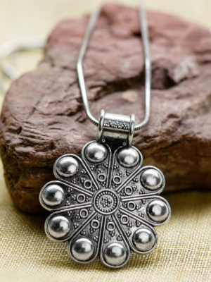 Handmade Silver Flower Pendant with Chain from India