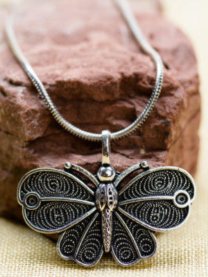 Fair Trade Silver Butterfly Necklace from India