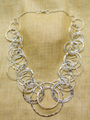 Hammered Silver Rings Necklace SN-303