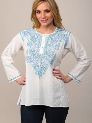 Fair Trade Embroidered Top in White with Blue Embroidery