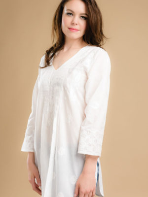White Chikan Kurta with Hand Embroidery from India