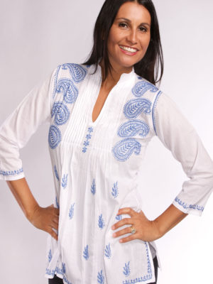 Fair Trade Embroidered Blue and White Tunic from India