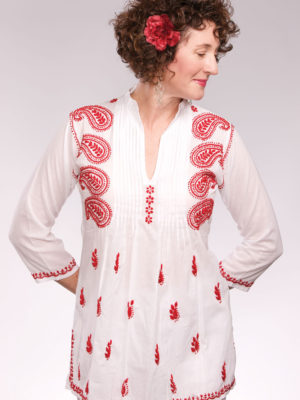 Fair Trade Embroidered Red Tunic from India