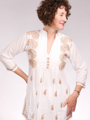 Fair Trade Embroidered White and Tan Tunic from India