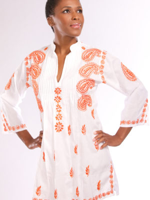 Hand Embroidered White and Orange Tunic from India