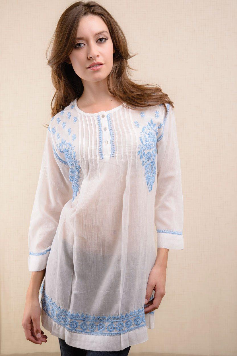 Tamira Blue Gauze Tunic Ss 41 1 Sevya Handmade