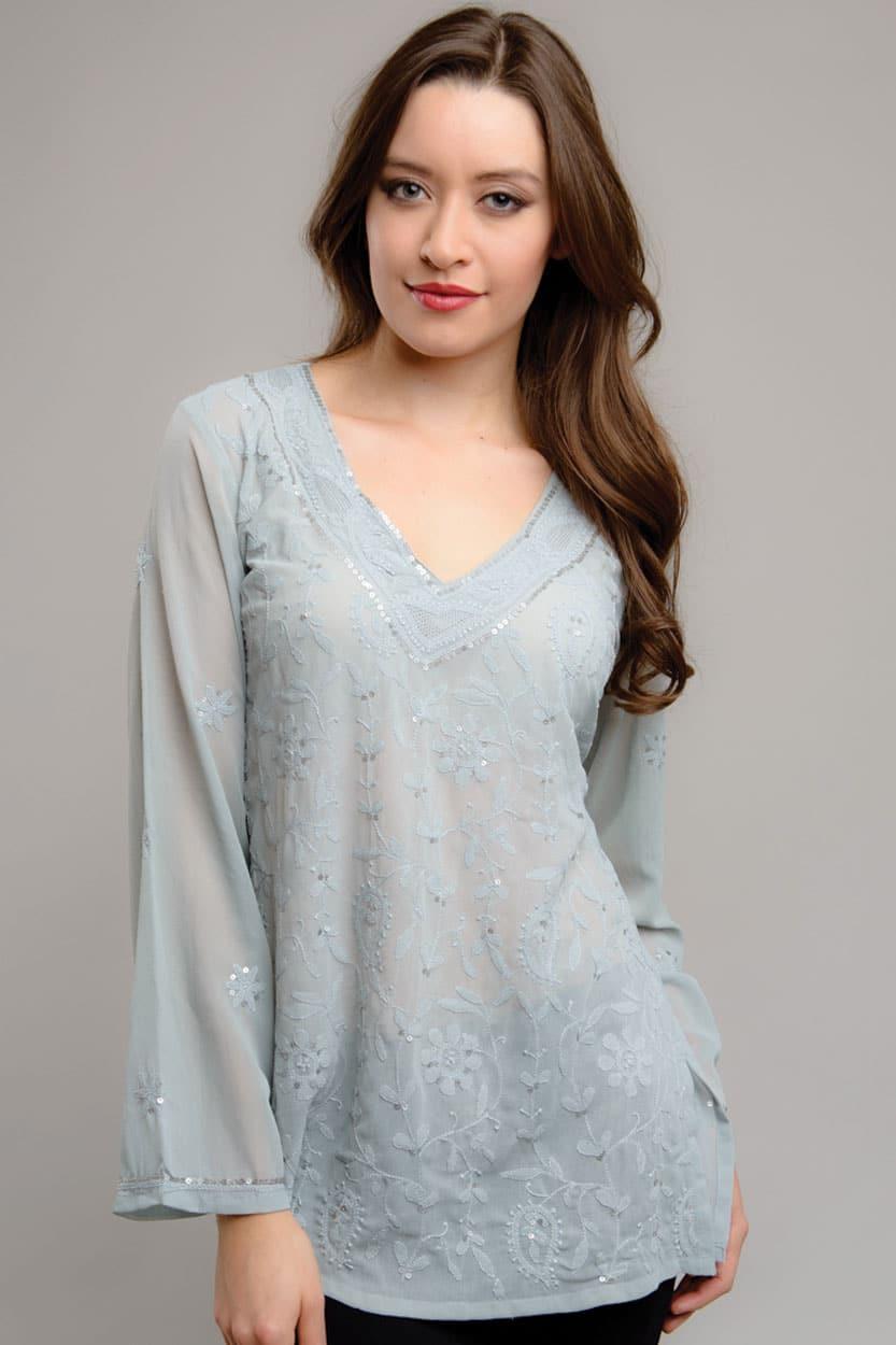 Silver Sequin Top Sevya Fair Trade Clothing Collection