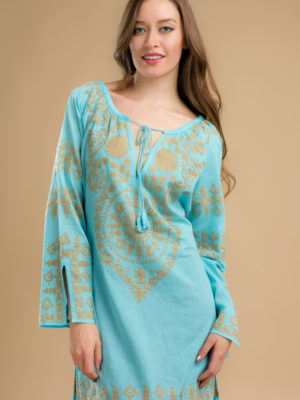 Fair Trade Turquoise Tunic with Embroidery