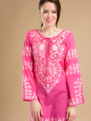 Fair Trade Magenta Tunic with Embroidery