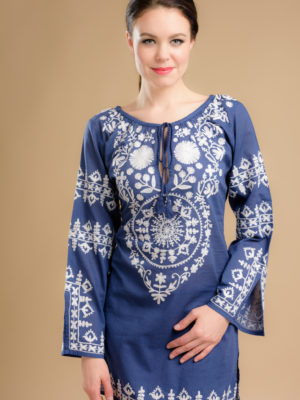 fair trade navy blue tunic with embroidery