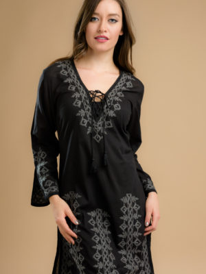 Fair Trade Embroidered Black Tunic from India
