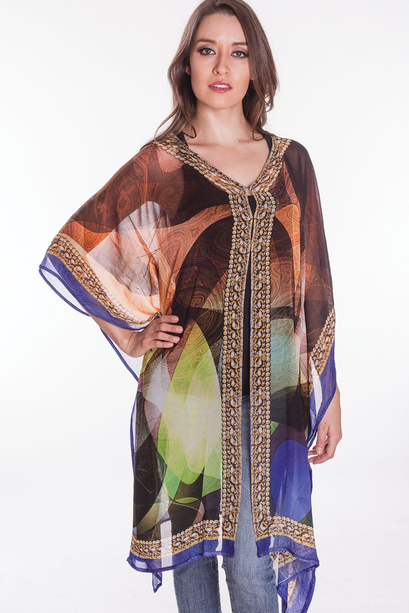 Abstract Digital Print Kaftan in Cotton from India