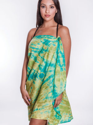 Handmade Green Sarong Wrap with Tie Dye