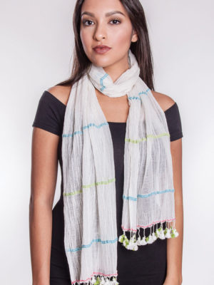 Fair Trade White Tassel Scarf from India