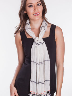 Fair Trade White Scarf with Tassels
