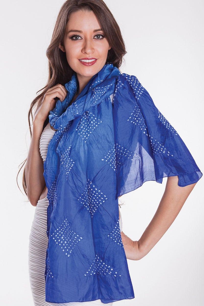 tanisi silk bandhani scarf sc 233 1 wholesale fair trade